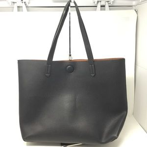 BP. Contrast Lining Faux Leather Tote